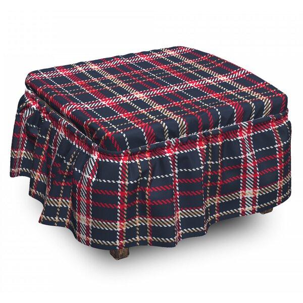 Plaid Retro English Classical 2 Piece Box Cushion Ottoman Slipcover Set By East Urban Home