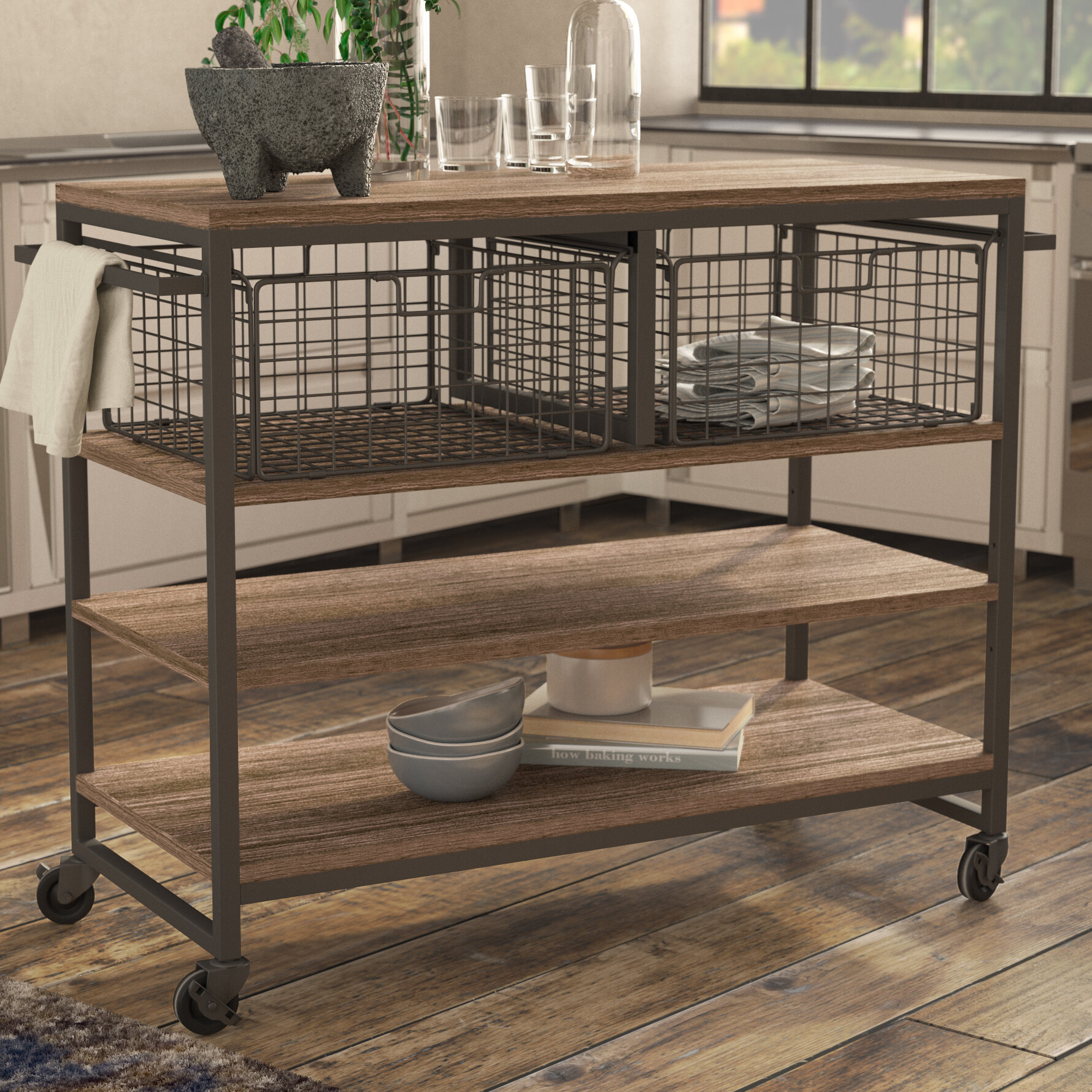 Shounak Kitchen Cart Solid + Manufactured Wood