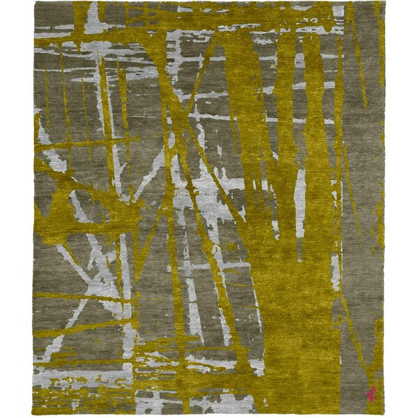 One-of-a-Kind Zana Hand-Knotted Tibetan Yellow/Gray 8' Square Wool Area Rug