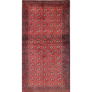 Check Prices One-of-a-Kind Aura Traditional Balouch Turkoman Persian Hand-Knotted Runner 3'3 x 6'3 Wool Red/Black Area Rug By Isabelline