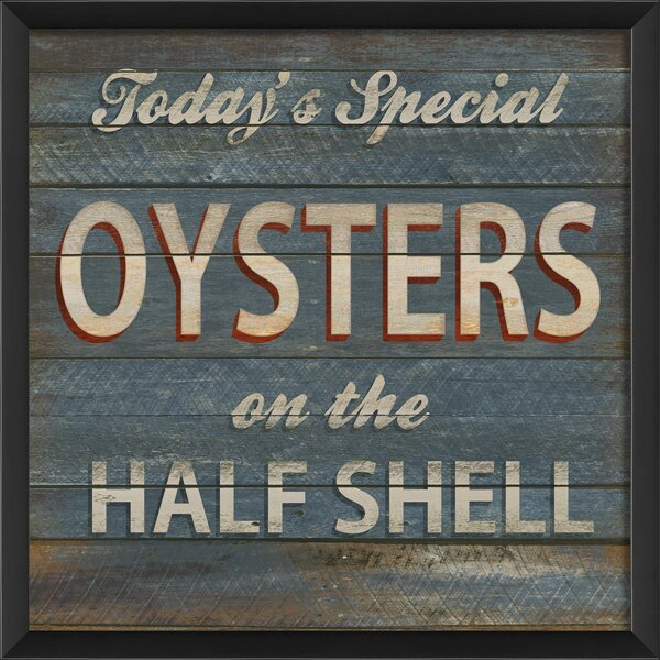 Oysters on the Half Shell Beach Sign Framed Textual Art by The Artwork Factory