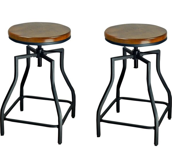 Wirksworth Adjustable Height Swivel Bar Stool (Set of 2) by Williston Forge