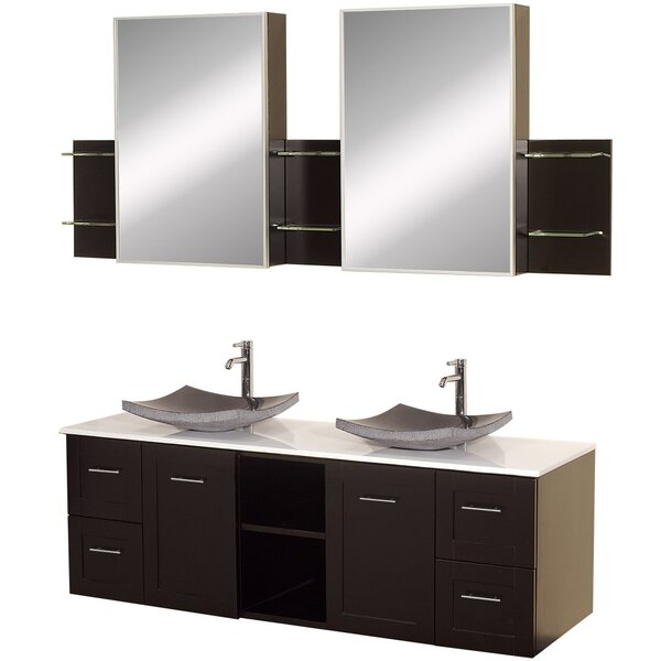 Avara 60 Wall-Mounted Double Bathroom Vanity Set with Mirror