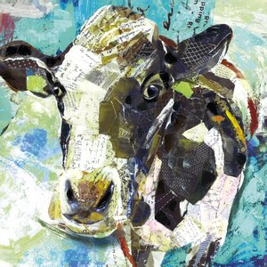 'Art Cow' by Sandy Doonan Graphic Art on Wrapped Canvas in Blue by Portfolio Canvas Decor