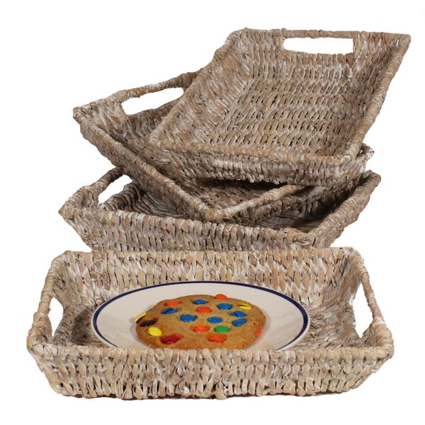 Lutie Small Abaca Serving Trays (Set of 4) by Bayou Breeze
