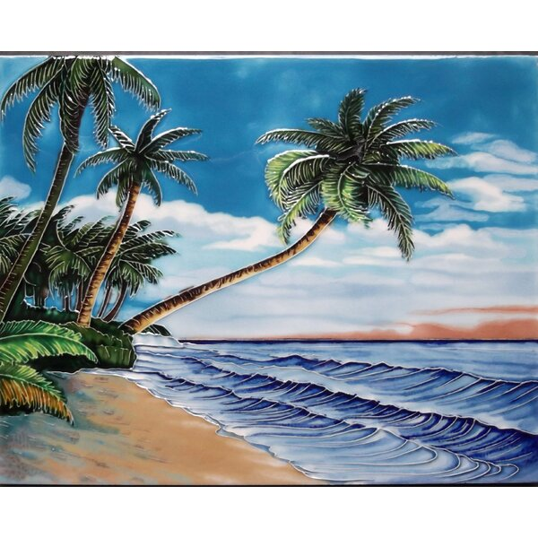 Leaning Palm Beach Tile Wall Decor by Continental Art Center