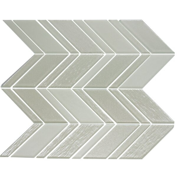 Chevron Random Sized Glass Mosaic Tile in Silver/White by Susan Jablon