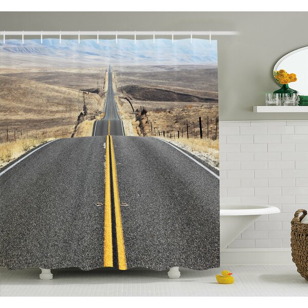 Pacific Coast Highway on the Road Trip to Endless Desert Western Photo Shower Curtain Set by East Urban Home