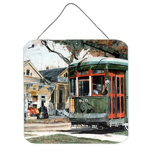 New Orleans Street Car by Sylvia Corban Painting Print Plaque by Caroline's Treasures