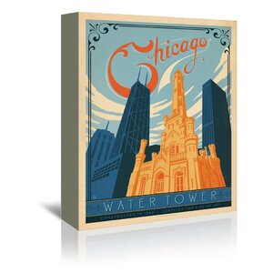 Chicago Water Tower Vintage Advertisement on Wrapped Canvas by East Urban Home