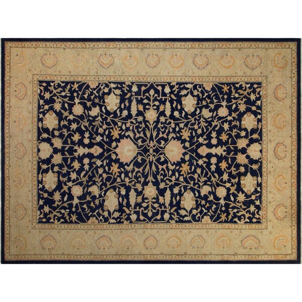 Xenos Transitional Hand-Knotted Wool Blue/Gold Area Rug by Astoria Grand