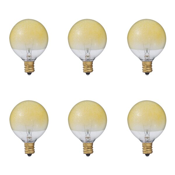 40W E12 Dimmable Incandescent Globle Light Bulb Amber (Set of 6) by Bulbrite Industries