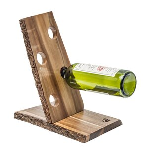 Organic Acacia 4 Bottle Tabletop Wine Rack by Brilliant