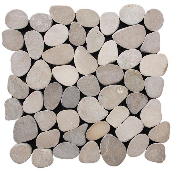 Sliced Pebble Random Sized Natural Stone Pebble Tile in Tan by Pebble Tile