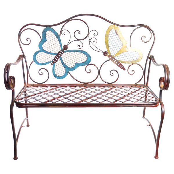 Caryn Colored Butterflies Metal Garden Bench by Winston Porter Winston Porter