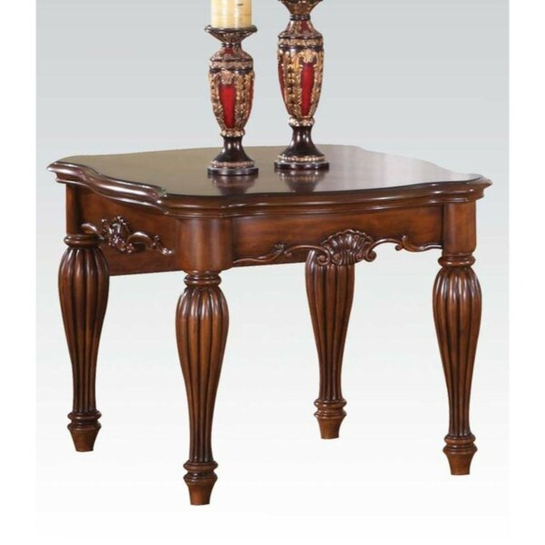 Sword Wooden Carved Details End Table by Astoria Grand