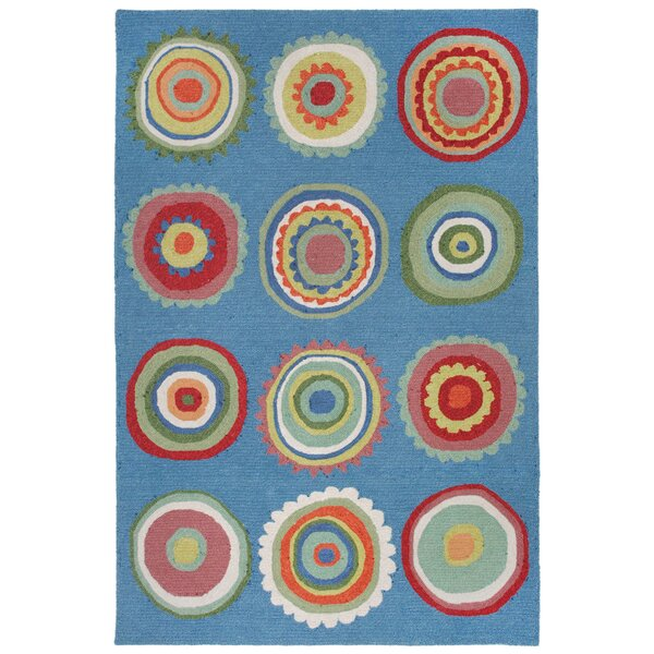 Deontae Circles Hand-Tufted Blue Indoor/Outdoor Area Rug by Harriet Bee
