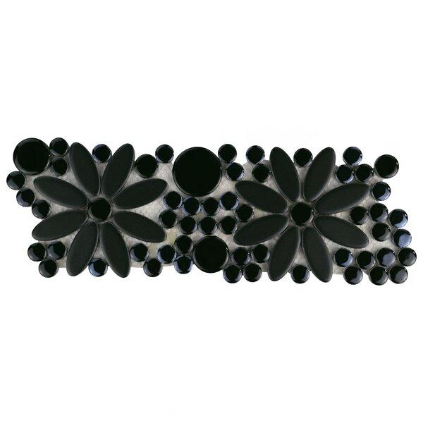 Tucana Flower 4.25 x 12.75 Porcelain Mosaic Border Tile in Black by EliteTile