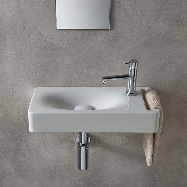 Hung Ceramic 24 Wall Mount Bathroom Sink by Scarabeo by Nameeks