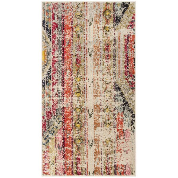 Alfred Abstract Grey/Orange/Pink Area Rug by Bungalow Rose