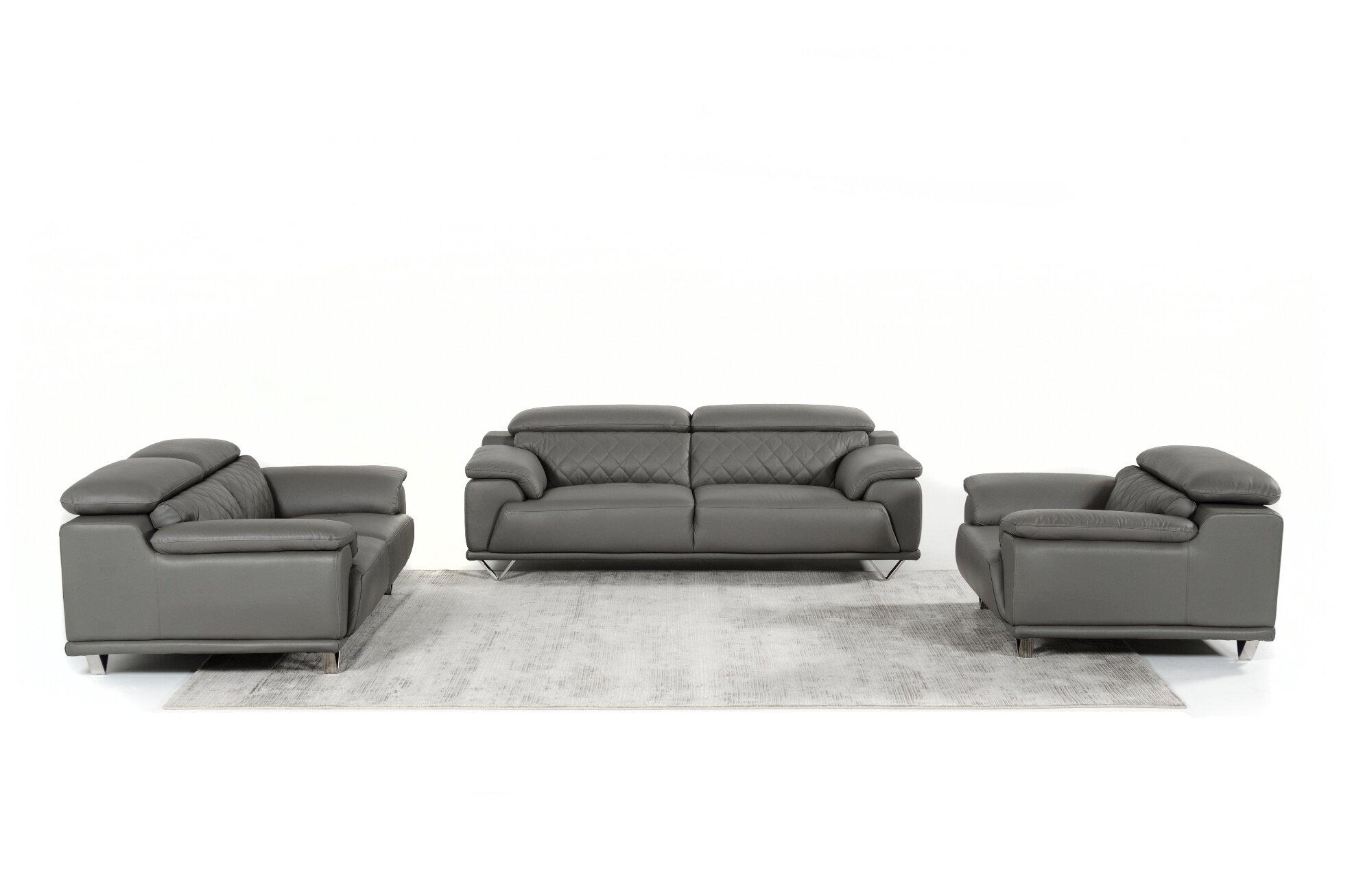 Cardinale 3 Piece Leather Living Room Set