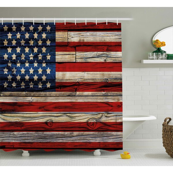 4th of July Old Fashion Retro Illustration With Independence Day Quote National Love Print Shower Curtain by The Holiday Aisle