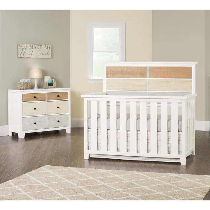 Ramsha 4 In 1 Convertible Crib And Dresser 2 Piece Nursery Furniture Set