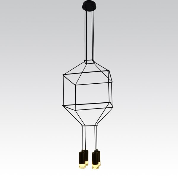 Gregoire Painted Body 4-Light LED Unique / Statement Geometric Chandelier By Wrought Studio
