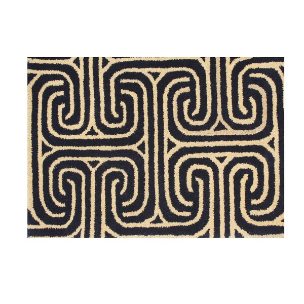 Post Hand-Tufted Black/Beige Area Rug by The Conestoga Trading Co.