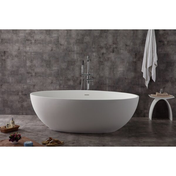 Oval Solid Surface Smooth Resin 67 x 39.4 Freestanding Soaking Bathtub by Alfi Brand