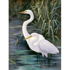 Snowy Egrets II Photographic Print on Canvas by Ba