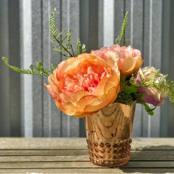 Peachy Glam Peony Floral Arrangement in Vase by Mercer41