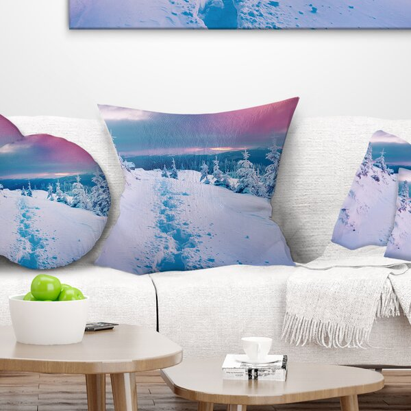 Landscape Printed Beautiful Sunrise over Winter Mountains Pillow by East Urban Home
