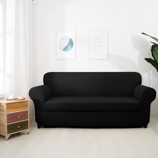 Seersucker Polyester Box Cushion Loveseat Slipcover By Winston Porter