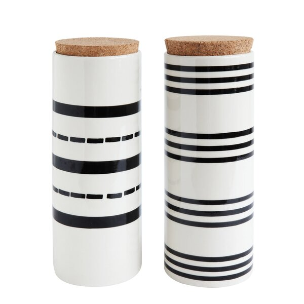 Stoneware 2 Piece Kitchen Canister Set by Wrought Studio