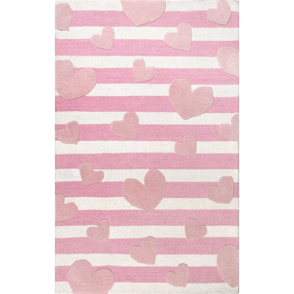 Holloman Hand-Woven Wool Pink Area Rug by Zoomie Kids
