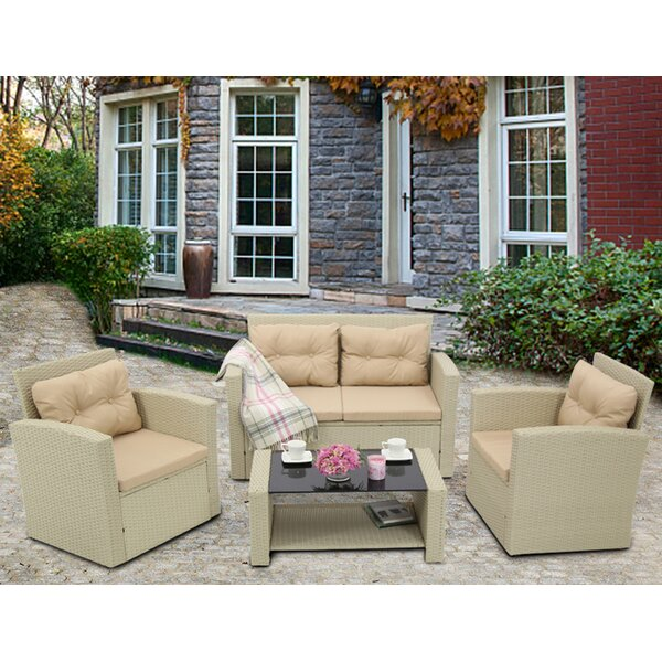 Evelien 4 Piece Rattan Sofa Seating Group by Ebern Designs