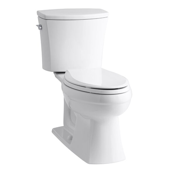 Kelston Comfort Height Two-Piece Elongated 1.28 GPF Toilet with Aquapiston Flush Technology and Left-Hand Trip Lever by Kohler