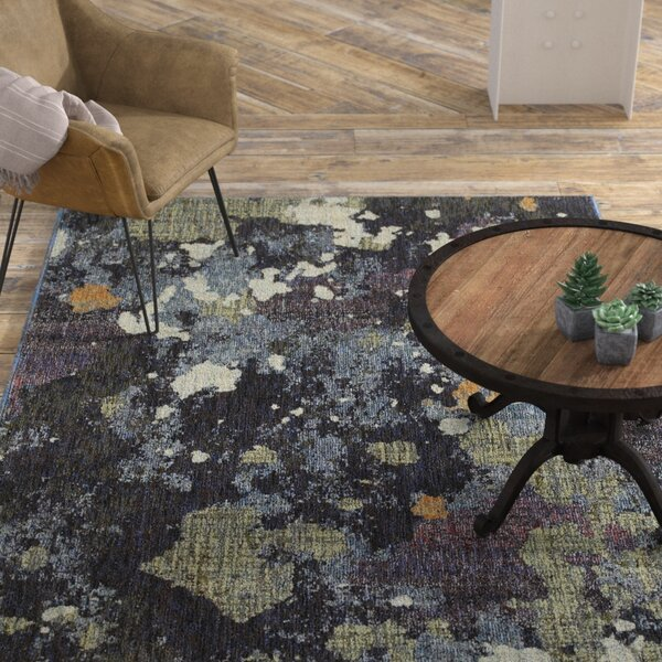 Knox Dappled Night Navy/Green Area Rug by Williston Forge