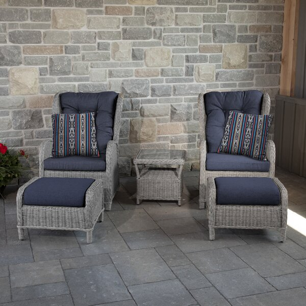 Pilcher 5 Piece Rattan Sunbrella Seating Group with Cushions by One Allium Way