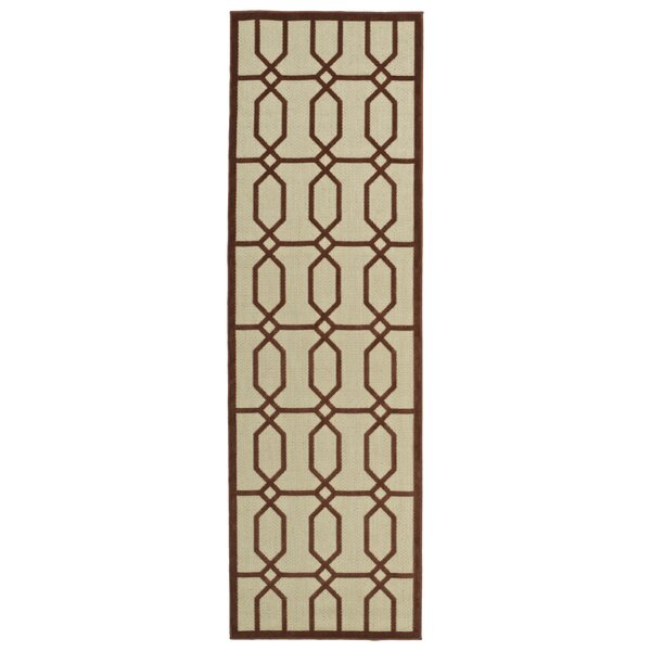 Covedale Terracotta & Cream Indoor/Outdoor Area Rug by Charlton Home