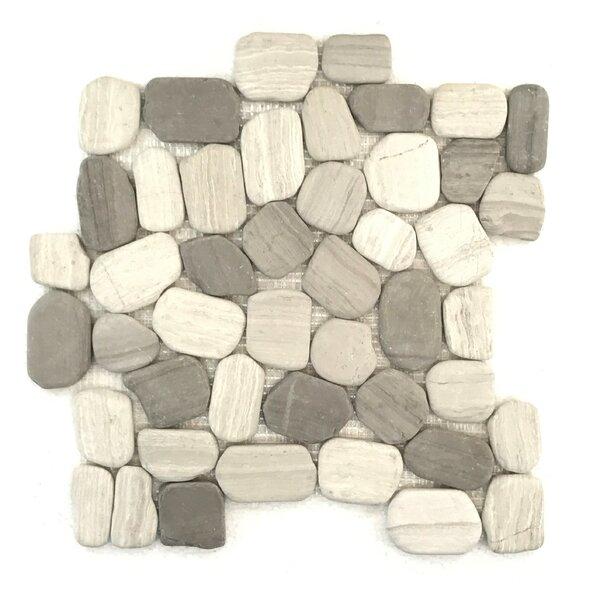 Rustic Birch Random Sized Marble Mosaic Tile in Beige/Tan by FuStone