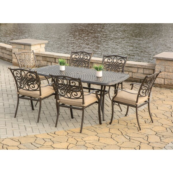 Lauritsen 7 Piece Oil Rubbed Bronze Dining Set with Cushion by Three Posts