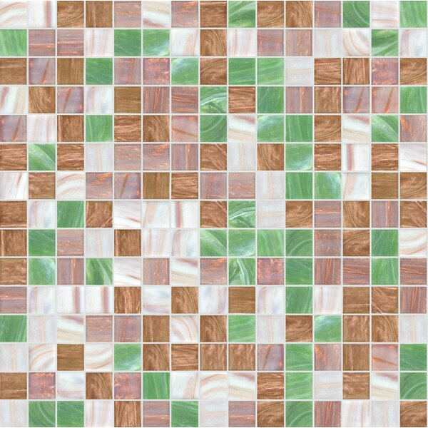 Standard Mix 13 x 13 Glass Mosaic Tile in Green/Brown by Mosaic Loft