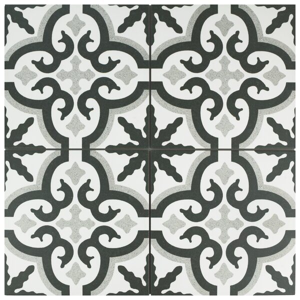 Junius 9.75 x 9.75 Porcelain Field Tile in Black by EliteTile