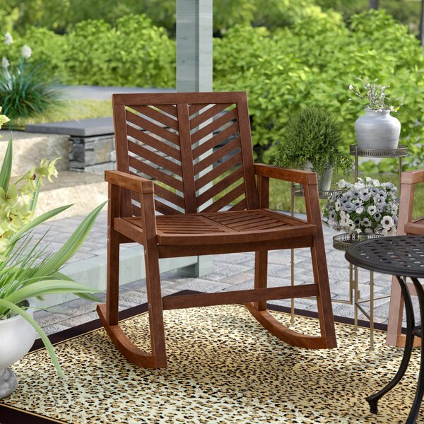Linda Outdoor Chevron Rocking Chair by Breakwater Bay