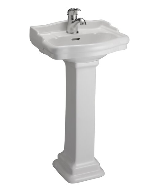 Stanford 460 Vitreous China Rectangular Pedestal Bathroom Sink with Overflow by Barclay