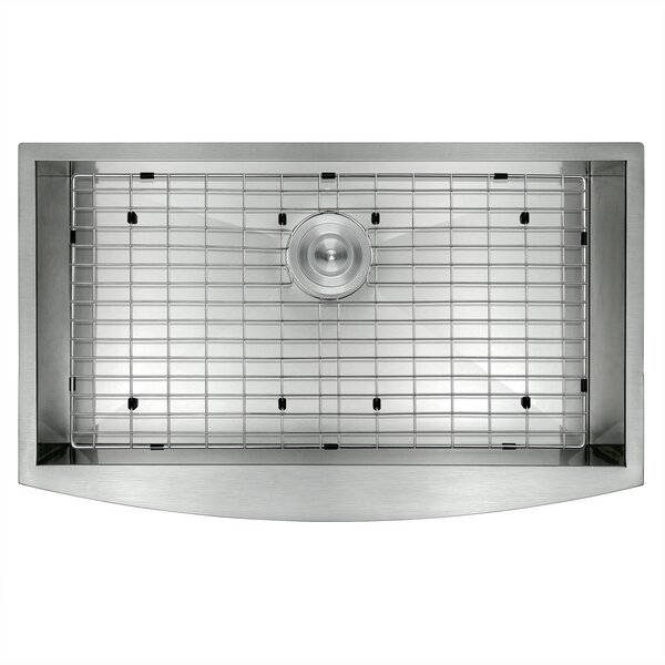 33 x 20 Farmhouse Apron Stainless Steel Single Bowl Kitchen Sink w/ Dish Grid and Drain Strainer Kit by AKDY
