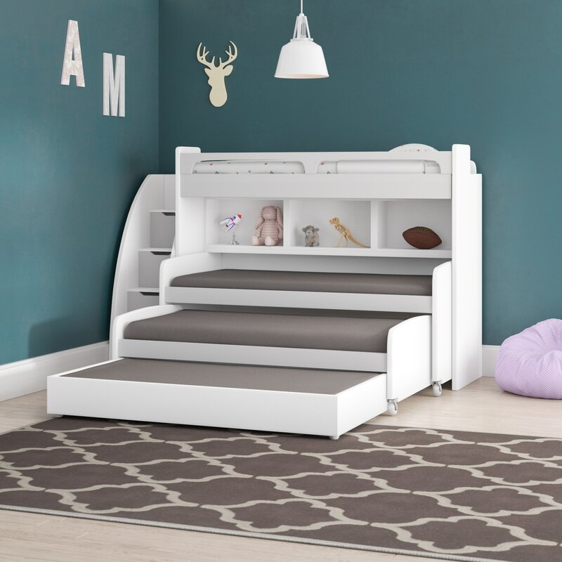 Brayden Studio Gautreau Twin L-Shaped Bunk Bed with Trundle ...