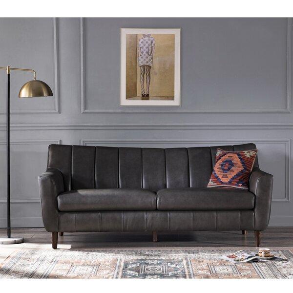 Rensel Leather Sofa by Brayden Studio Brayden Studio